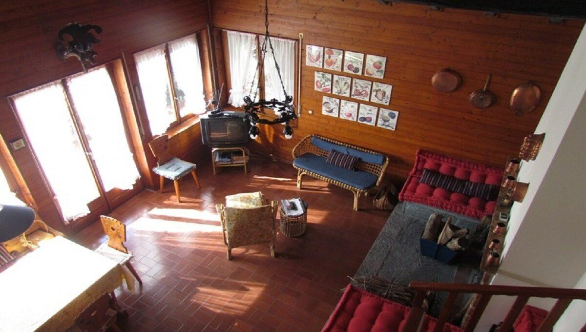 Villino a Sagno vista soggiorno dalla balconata