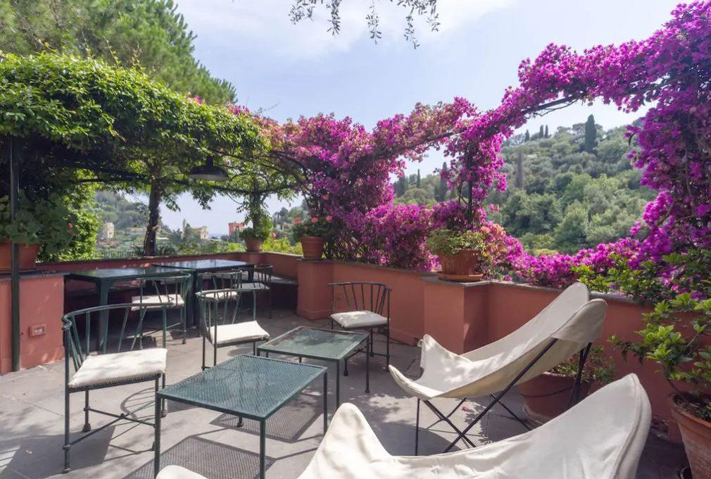 Terrazza della magnifica villa in vendita a Portofino