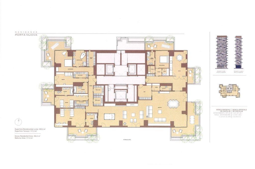 Ipotesi lay-out Prestigioso attico Bosco Verticale Milano Luxury, Vendita